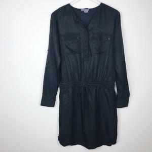 Vince | Black Shirred Shirt Dress Long Sleeves